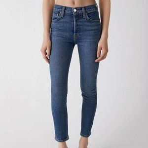 EUC RE/DONE Levi's High Rise Ankle Crop Straight Jean in Mid 70s Medium Blue 25